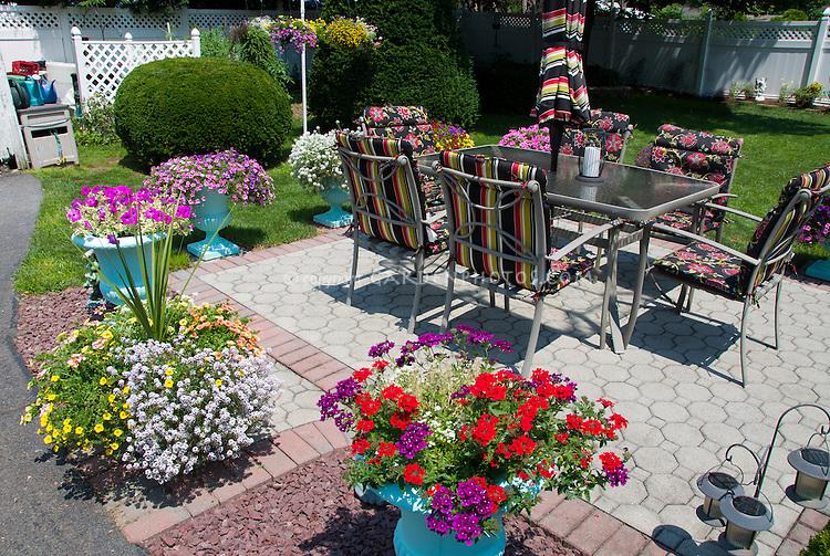 Pretty Container Garden With Pots Around Patio, Annual Flowers, Lawn Gras,  Garden Furniture