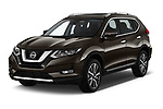 2018 Nissan X-Trail Tekna 5 Door SUV Angular Front stock photos of front three quarter view