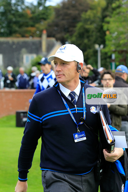 Referee Richard Melville during Day 2 Singles for the Junior Ryder Cup 2014 at Blairgowrie Golf Club on Tuesday 23rd September 2014.<br /> Picture:  Thos Caffrey / www.golffile.ie