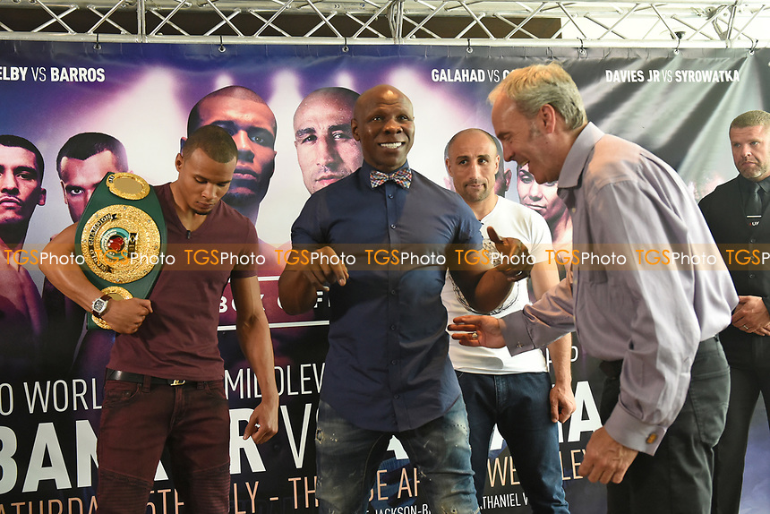 Chris Eubank (C) makes a joke during a Press Conference at the Sky Bar, Hilton Hotel on 13th July 2017