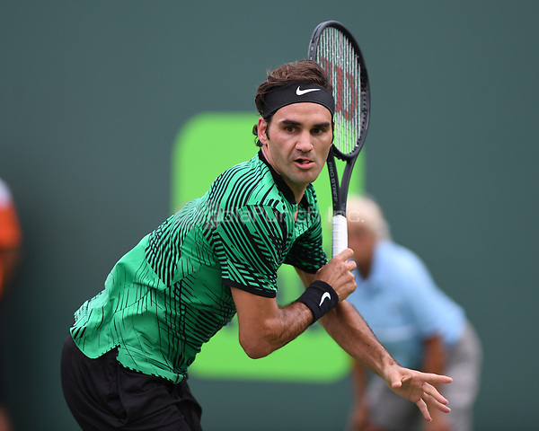 KEY BISCAYNE, FL - MARCH 25 : Roger Federer Vs Frances Tiafoe during the Miami Open at Crandon Park Tennis Center on March 25, 2017 in Key Biscayne, Florida. Credit: mpi04/MediaPunch