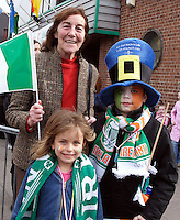 St Patricks Parade Birmingham  11th Mar 07 .Carlow born Mary Mulligan with her grandchildren Cara and Jack Kelly