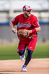 27 February 2017: Washington Nationals infielder Stephen Drew takes practice infield grounders during a Spring Training workout at the Ballpark of the Palm Beaches in West Palm Beach, Florida. Mandatory Credit: Ed Wolfstein Photo *** RAW (NEF) Image File Available ***
