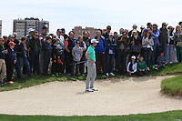 Nacho Elvira (ESP) in a bunker at the 4th green during Round 4 of the Open de Espana 2018 at Centro Nacional de Golf on Sunday 15th April 2018.<br /> Picture:  Thos Caffrey / www.golffile.ie<br /> <br /> All photo usage must carry mandatory copyright credit (&copy; Golffile | Thos Caffrey)