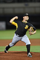 Bradenton Marauders pitcher Jhondaniel Medina (34) delivers a pitch during a game against the Charlotte Stone Crabs on April 4, 2014 at Charlotte Sports Park in Port Charlotte, Florida.  Bradenton defeated Charlotte 9-1.  (Mike Janes/Four Seam Images)