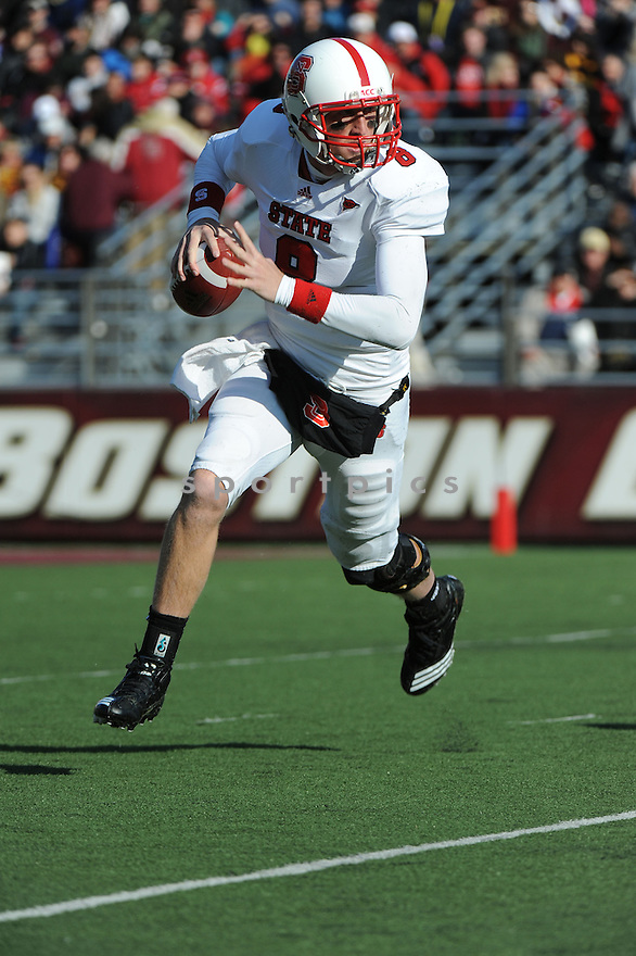 North Carolina State Wolfpack quarterback Mike Glennon (8) during game against Boston College Eagles on Saturday, November 12, 2011 in Chestnut Hill, MA.