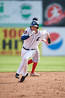 Connecticut Tigers center fielder Clark Brinkman (10) runs the bases during a game against the Lowell Spinners on August 26, 2018 at Dodd Stadium in Norwich, Connecticut.  Connecticut defeated Lowell 11-3.  (Mike Janes/Four Seam Images)