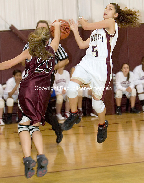 WATERBURY, CT- 15 JAN 2008- 011508JT08-<br /> Torrington's Kaylee Cerruto cuts Sacred Heart's Patricia Miranda's layup attempt short during Tuesday's game at Sacred Heart. Hearts won 58-46.<br /> Josalee Thrift / Republican-American