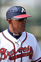 Atlanta Braves manager Luis Salazar during a minor league spring training game against the Washington Nationals on March 26, 2014 at Wide World of Sports in Orlando, Florida.  (Mike Janes/Four Seam Images)