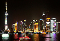 Pudong business district is home of the famous Shanghai skyline, with the Oriental Pearl Tower (left), as seen from 'The Bund' in Shanghai, China, on March 7, 2008. Photo by Lucas Schifres/Pictobank