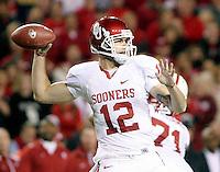Oklahoma quarterback Landry Jones looks to pass during Saturday's game at Memorial Stadium in Lincoln, Neb. Nebraska defeated No. 20 Oklahoma 10-3