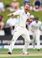 2nd December, Hamilton, New Zealand; Neil Wagner celebrates the wicket of Broad and his 5th wicket on day 4 of the 2nd test cricket match between New Zealand and England  at Seddon Park, Hamilton, New Zealand.