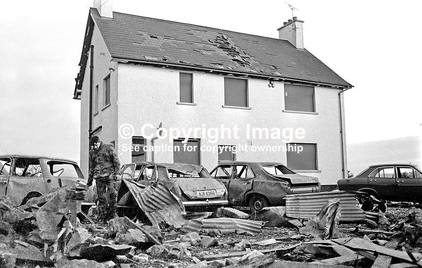 Desertmartin, Co Londonderry, farmhouse where in a premature explosion Charles Logan, Toronto Street, Belfast, described as a major in the UVF, Ulster Volunteer Force, died on 18th November 1973.  The house was owned by a former Ulster Unionist councillor, who along with his wife, were injured in the blast. In a subsequent UVF statement it was stated the couple were being held prisoner and had nothing to do with the explosion. .197311180710b.<br />