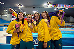 LONDON, ENGLAND - JULY 28:  Team Australia celebrates their gold medal in the Women's 4 X 100M Freestyle Relay during Day 2 of the Swimming Finals as part of the London 2012 Olympic Games on July 28, 2012 at the Aquatics Center in London, England. (Photo by Donald Miralle)
