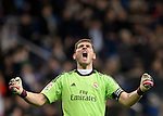 Real Madrid's goalkeeper and captain Iker Casillas celebrates third goal during the Spanish Copa del Rey (King's Cup) semifinal first-leg football match Real Madrid CF vs Club Atletico de Madrid at the Santiago Bernabeu stadium in Madrid on February 5, 2014.   PHOTOCALL3000/ DP