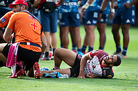 March 14th 2020, Eden Park, Auckland, New Zealand;  Lions centre Manuel Rass on the ground injured, during the Super Rugby match between the Blues and the Lions, held at Eden Park, Auckland, New Zealand.