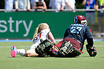 GER - Mannheim, Germany, May 27: During the women semi-final match between UHC Hamburg and Rot-Weiss Koeln at the Final4 tournament May 27, 2017 at Am Neckarkanal in Mannheim, Germany. (Photo by Dirk Markgraf / www.265-images.com) *** Local caption *** Yvonne Frank #27 of Uhlenhorster HC Hamburg, Pia Grambusch #21 of Rot-Weiss Koeln