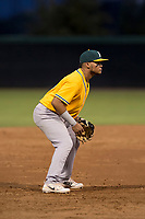 AZL Athletics third baseman Jordan Diaz (10) during an Arizona League game against the AZL Athletics at Camelback Ranch on July 15, 2018 in Glendale, Arizona. The AZL White Sox defeated the AZL Athletics 2-1. (Zachary Lucy/Four Seam Images)