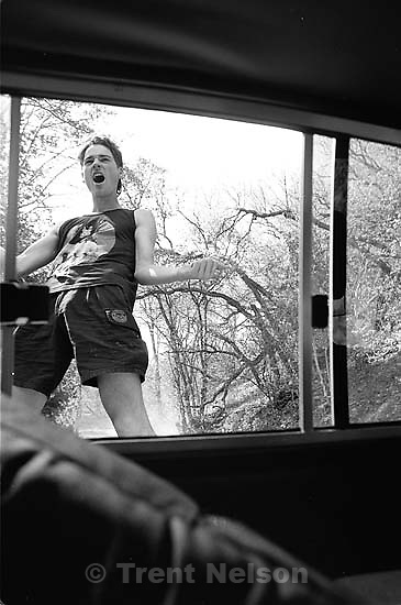 Trent Nelson acting strange in Alex's truck.<br />