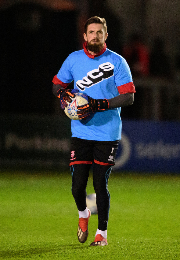 Lincoln City's Josh Vickers during the pre-match warm-up<br /> <br /> Photographer Andrew Vaughan/CameraSport<br /> <br /> The EFL Sky Bet League One - Lincoln City v Milton Keynes Dons - Tuesday 11th February 2020 - LNER Stadium - Lincoln<br /> <br /> World Copyright © 2020 CameraSport. All rights reserved. 43 Linden Ave. Countesthorpe. Leicester. England. LE8 5PG - Tel: +44 (0) 116 277 4147 - admin@camerasport.com - www.camerasport.com