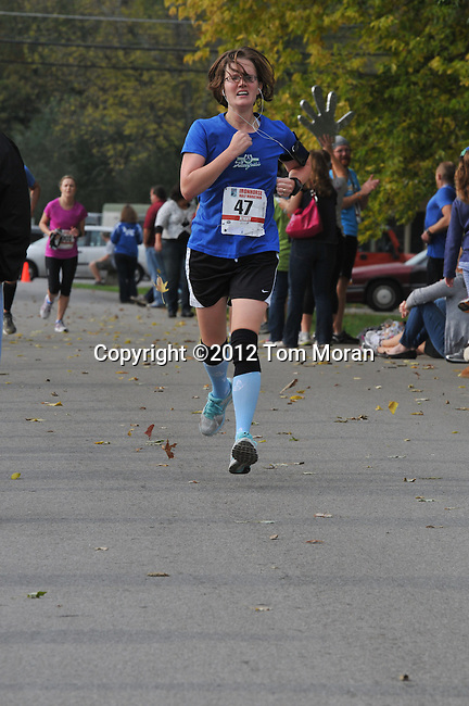 Finish of the 2012 Iron Horse Half Marathon, Midway, Kentucky  October 14, 2012<br />