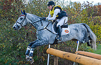 RF Smoke on the Water, with rider Marilyn Little (USA), competes during the Cross Country test during the Fair Hill International at Fair Hill Natural Resources Area in Fair Hill, Maryland on October 20, 2012.