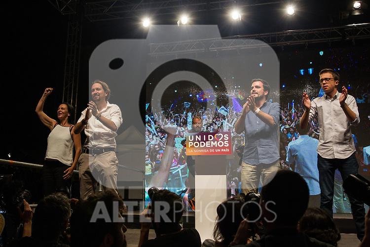 Spanish politician Pablo Iglesias, Alberto Garzon and Inigo Errejon of Unidos Podemos party, after the results of the national elections at plaza Reina Sofia, Spain. 26,06,2016. (ALTERPHOTOS/Rodrigo Jimenez)