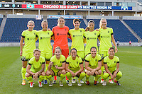 Chicago, IL - Sunday Sept. 04, 2016: Seattle Reign Starting XI prior to a regular season National Women's Soccer League (NWSL) match between the Chicago Red Stars and Seattle Reign FC at Toyota Park.