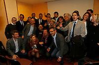 Matteo Brambilla candidato sindaco di Napoli del movimento 5 stelle si presenta alla stampa nella foto con i candidati al consiglio comunale
