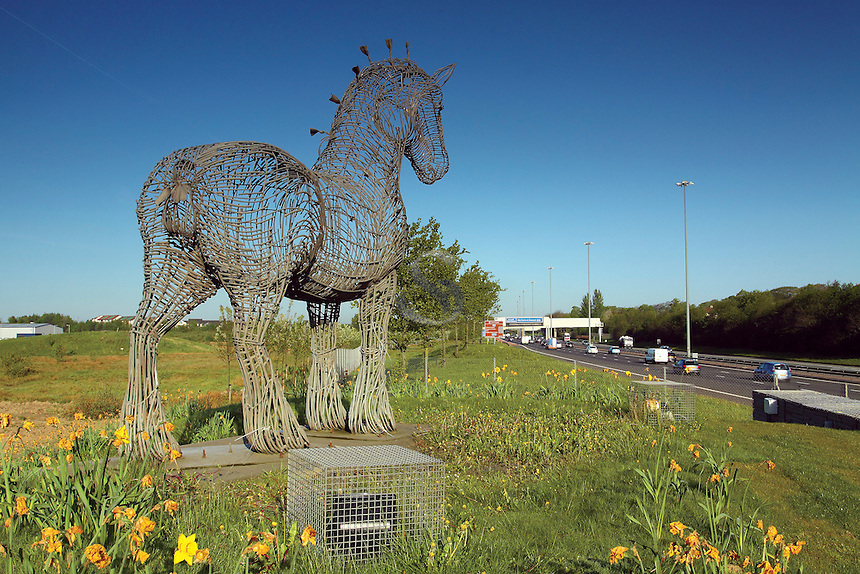 The Heavy Horse beside the M8 Motorway, Glasgow<br /> <br /> Copyright www.scottishhorizons.co.uk/Keith Fergus 2011 All Rights Reserved