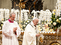 Pope Francis celebrates the Easter vigil ceremony in St. Peter's Basilica at the Vatican, April 20, 2019.<br /> UPDATE IMAGES PRESS/Riccardo De Luca<br /> <br /> STRICTLY ONLY FOR EDITORIAL USE