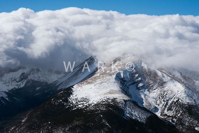 Cloud cover over mountain peaks, Sangre de Cristo mountains near Mt. Blanca. Jan 2013
