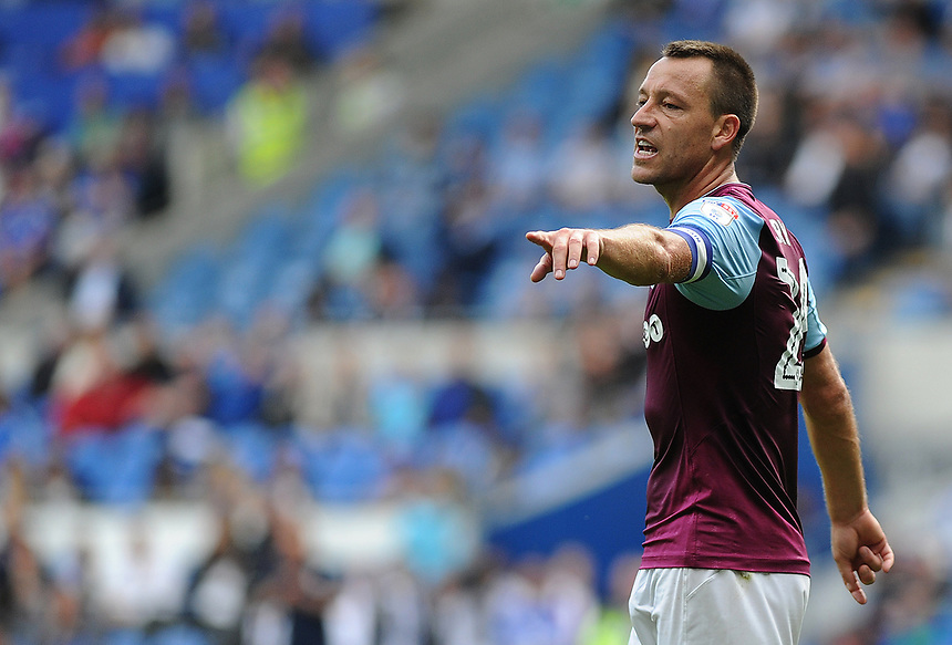 Aston Villa's John Terry shouts instructions <br /> <br /> Photographer Ashley Crowden/CameraSport<br /> <br /> The EFL Sky Bet Championship - Cardiff City v Aston Villa - Saturday August 12th 2017 - Cardiff City Stadium - Cardiff<br /> <br /> World Copyright &copy; 2017 CameraSport. All rights reserved. 43 Linden Ave. Countesthorpe. Leicester. England. LE8 5PG - Tel: +44 (0) 116 277 4147 - admin@camerasport.com - www.camerasport.com