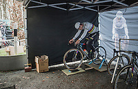 Wout Van Aert (BEL/Crelan-Vastgoedservice) warming up for the race<br /> <br /> 2016 CX UCI World Cup Zeven (DEU)