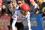 Diego Ulissi (ITA) UAE Team Emirates off the start ramp of Stage 1 of the 2019 Giro d'Italia, an individual time trial running 8km from Bologna to the Sanctuary of San Luca, Bologna, Italy. 11th May 2019.<br /> Picture: Eoin Clarke | Cyclefile<br /> <br /> All photos usage must carry mandatory copyright credit (© Cyclefile | Eoin Clarke)