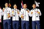 (L to R) <br /> Keita Nakajima, <br />  Daiki Imano, <br /> Ren Yonezawa, <br />  Takumi Kanaya (JPN), <br /> AUGUST 26, 2018 - Golf : <br /> Men's Team Medal Ceremony <br /> at Pondok Indah Golf & Country Club <br /> during the 2018 Jakarta Palembang Asian Games <br /> in Jakarta, Indonesia. <br /> (Photo by Naoki Morita/AFLO SPORT)