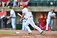 Greenville Reds Justin Gomez (26) swings at a pitch during a game against the Elizabethton Twins at Pioneer Park on June 29, 2019 in Greeneville, Tennessee. The Twins defeated the Reds 8-1. (Tony Farlow/Four Seam Images)