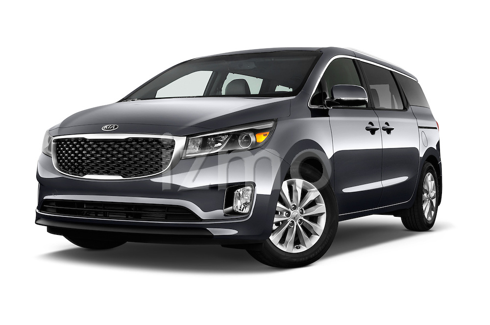 Stock pictures of low aggressive front three quarter view of 2015 KIA Sedona EX 5 Door Minivan Low Aggressive