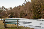 MIDDLEBURY, CT. 08 January 2020-010820BS16 - A bench sits empty overlooking a small pond starting to freeze over after an arctic front come through on Wednesday. Bill Shettle Republican-American