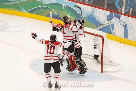 Trent Nelson  |  The Salt Lake Tribune.Canada defeats Team USA in the gold medal game, women's Ice Hockey at the Canada Hockey Place, Vancouver, XXI Olympic Winter Games, Thursday, February 25, 2010. Canada's Gillian Apps (10), Canada's Hayley Wickenheiser (22), Canada's Shannon Szabados