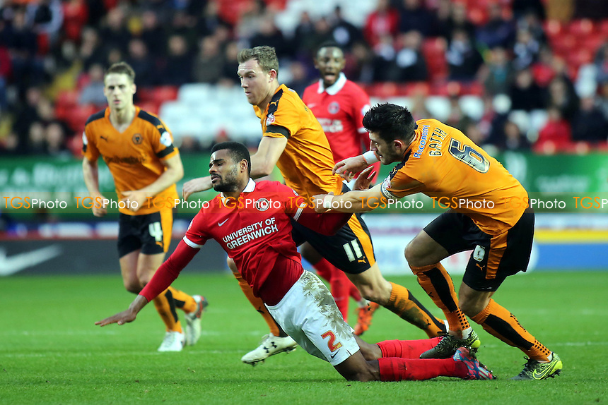Danny Batth of Wolves pushes Charlton's Ricardo Vaz Te to the ground during Charlton Athletic vs Wolverhampton Wanderers, Sky Bet Championship Football at The Valley, London, England on 28/12/2015