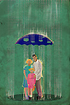 Family standing underneath an umbrella with holes on a rainy day depicting deceptive insurance