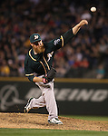 Oakland Athletics  closer Sean Doolittle pitches against the Seattle Mariners in the 11th inning September 13, 2014 at Safeco Field in Seattle. The Athletics beat the Mariners 3-2 when  Mariners pitcher Fernando Rodney  walked in Coco Crisp in the 10th inning. The game went 11 innings. ©2014. Jim Bryant Photo. All Rights Reserved.