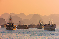 Tour ships docked for the night in Halong Bay, North Vietnam. The bay features 3,000  limestone and dolomite karsts and islets in various shapes and sizes sprinkled over 1,500 square kilometers. It offers a wonderland of karst topography. It is a UNESCO World Heritage Site.