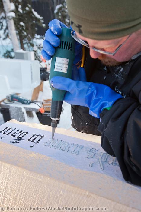 "2009 World Ice Art Championships, multi-block competition. ""Stairway to Heaven"" by artists Buddy Rasmussen, Clay Rasmussen, Robert Childers, Roland De La Garza."
