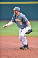 Tennessee Volunteers first baseman Pete Derkay (10) reacts to the play during a game against the University of North Carolina Greensboro (UNCG) Spartans at Lindsey Nelson Stadium on February 24, 2018 in Knoxville, Tennessee. The Volunteers defeated Spartans 11-4. (Tony Farlow/Four Seam Images)
