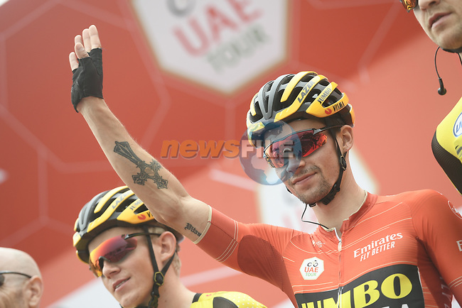 Race leader Primoz Roglic (SLO) and Team Jumbo-Visma presented at sign on before the start of Stage 6 of the 2019 UAE Tour, running 175km form Ajman to Jebel Jais, Dubai, United Arab Emirates. 1st March 2019.<br /> Picture: LaPresse/Fabio Ferrari | Cyclefile<br /> <br /> <br /> All photos usage must carry mandatory copyright credit (© Cyclefile | LaPresse/Fabio Ferrari)