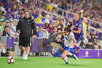Orlando, FL - Saturday June 03, 2017: Matt Beard, Brook Elby, Rachel Hill during a regular season National Women's Soccer League (NWSL) match between the Orlando Pride and the Boston Breakers at Orlando City Stadium.