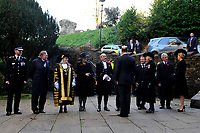 Pictured: Sophie, Countess of Wessex (right) and Prince Edward (left), Earl of Wessex are greeted as they arrive at Llandaff Cathedral, Cardiff, Wales, UK.  Sunday 11 November 2018<br /> Re: Commemoration for the 100 years since the end of the First World War on Remembrance Day at the Llandaff Cathedral, in Llandaff, Cardiff, Wales, UK.