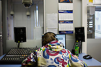 A radio producer works on a piece in the Komsomolskaya Pravda radio studio in Moscow, Russia.